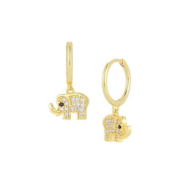 クロエアンドマディソン ピアス&イヤリング アクセサリー レディース Gold Vermeil & Cubic Zirconia Elephant Drop Earrings 0