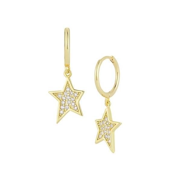 クロエアンドマディソン ピアス&イヤリング アクセサリー レディース 14K Yellow Gold Vermeil & Cubic Zirconia Hoop-Star Drop Earrings 0