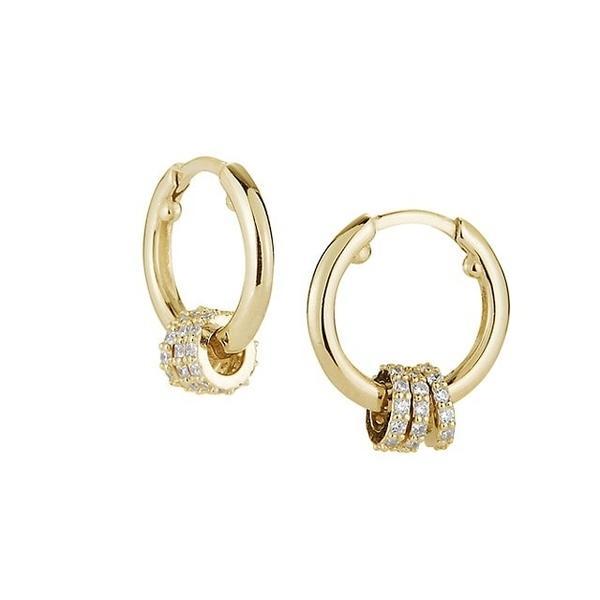 クロエアンドマディソン ピアス&イヤリング アクセサリー レディース 14K Goldplated Sterling Silver & Cubic Zirconia Huggie Earrings 0