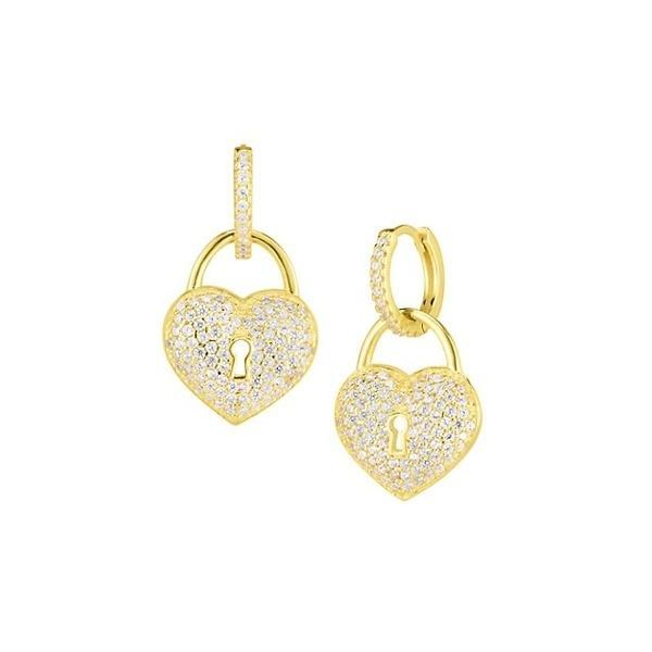 クロエアンドマディソン ピアス&イヤリング アクセサリー レディース 14K Yellow Gold Vermeil, Sterling Silver & Crystal Huggie Earrings 0