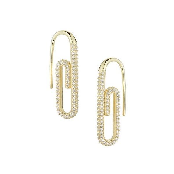 クロエアンドマディソン ピアス&イヤリング アクセサリー レディース Gold Vermeil & Cubic Zirconia Paperclip Threader Earrings 0