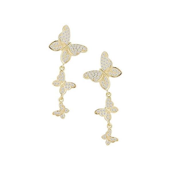 クロエアンドマディソン ピアス&イヤリング アクセサリー レディース 14K Goldplated Sterling Silver & Cubic Zirconia Butterfly Drop Earrings 0
