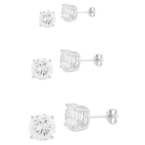 クロエアンドマディソン ピアス&イヤリング アクセサリー レディース 3-Piece Rhodium-Plated Sterling Silver & Cubic Zirconia Stud Earrings Set 0