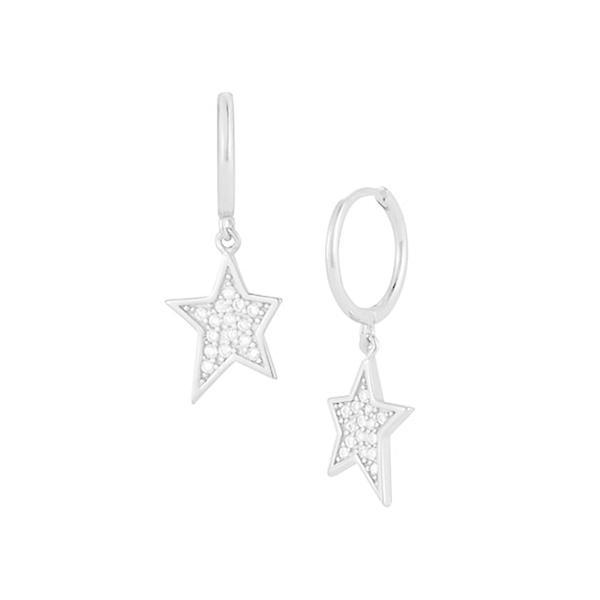 クロエアンドマディソン ピアス&イヤリング アクセサリー レディース Rhodium-Plated Sterling Silver & Cubic Zirconia Hoop-Star Drop Earrings 0