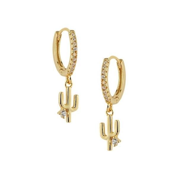 クロエアンドマディソン ピアス&イヤリング アクセサリー レディース 18K Gold Vermeil & Cubic Zirconia Cactus Huggie Hoop-Drop Earrings 0