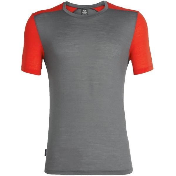 アイスブレーカー シャツ メンズ トップス Sphere Short-Sleeve Crew Shirt Timberwolf/Chili Red|astyshop