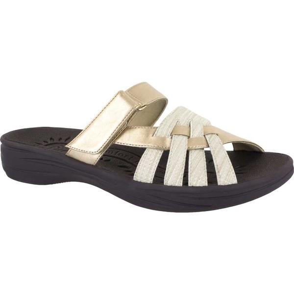 イージーストリート レディース サンダル シューズ Solite Delia Slide Sandal Soft Gold Weave Synthetic
