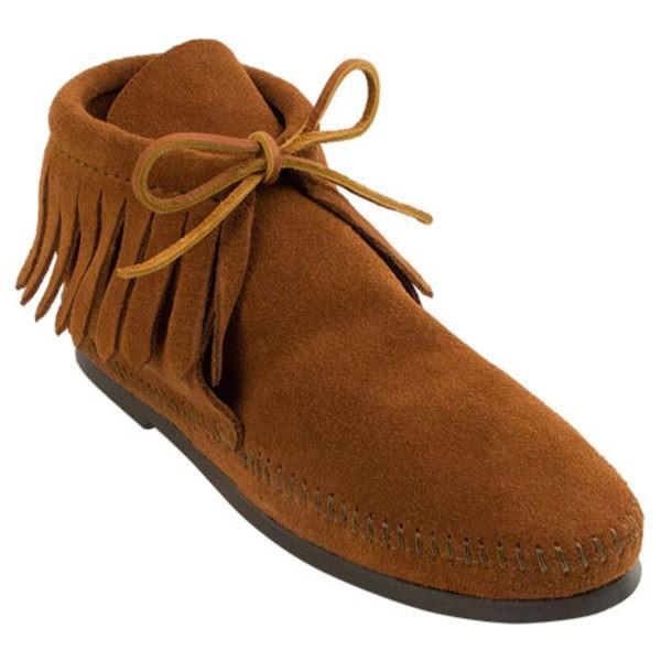 ミネトンカ レディース ブーツ&レインブーツ シューズ Classic Fringed Boot Hardsole Brown Suede