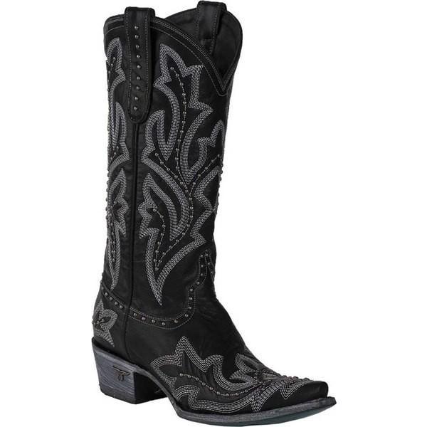 レーンブーツ レディース ブーツ&レインブーツ シューズ Saratoga Stud Cowgirl Boot Black Full Grain Leather