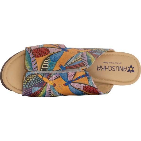 アヌシュカ レディース サンダル シューズ Anaya Comfort Slide Dancing Dragonflies Printed Leather