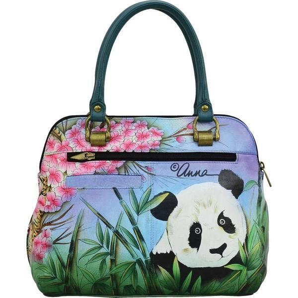 アンナバイアナシュカ レディース ハンドバッグ バッグ Hand Painted Leather Medium Satchel Tote Bag 8375 Lovable Pandas
