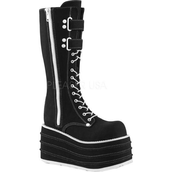 デモニア レディース ブーツ&レインブーツ シューズ Mori 310 Platform Knee High Boot Black Canvas