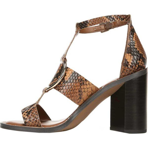フランコサルト レディース サンダル シューズ Dandelion Ankle Strap Heeled Sandal Brown Snake Print Leather