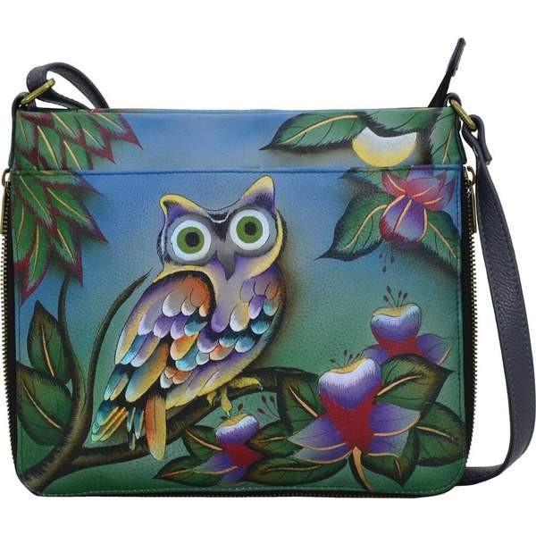 アンナバイアナシュカ レディース ハンドバッグ バッグ Hand Painted Extendable Crossbody 8324 Midnight Owl