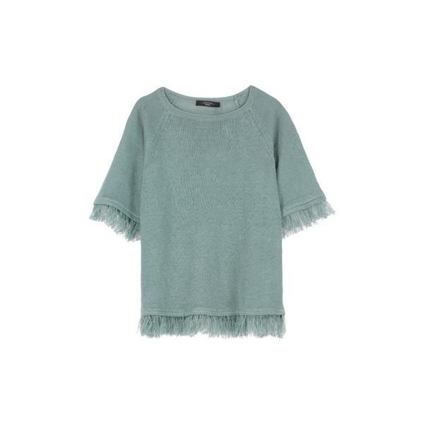 マックマーラ カットソー レディース トップス Weekend Max Mara Cimone Fringed Knitted T-shirt green