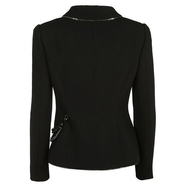 モスキーノ ジャケット・ブルゾン レディース アウター Moschino Chain-embellished Crepe Jacket black