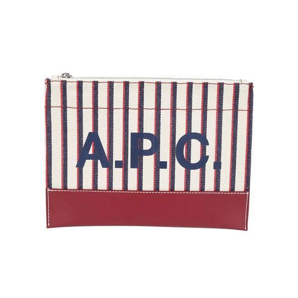 アーペーセー クラッチバッグ レディース バッグ A.p.c. Striped Logo Print Clutch Vino