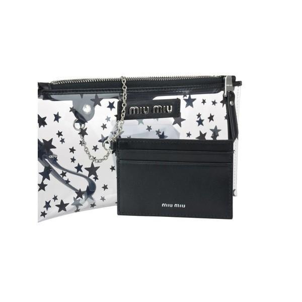 ミュウミュウ クラッチバッグ レディース バッグ Miu Miu Zip Pochette With Stars Detail Black