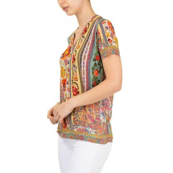 エトロ カットソー レディース トップス Etro T-shirt V Neck Jersey Multicolor