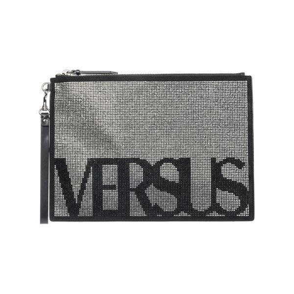 ヴェルサス ヴェルサーチ クラッチバッグ レディース バッグ Versus Versace Leather Clutch Handbag Bag Purse Vintage Logo Nero