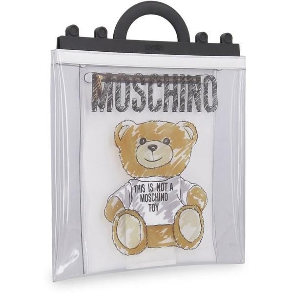 モスキーノ トートバッグ レディース バッグ Moschino Teddy Bear Printed Pvc Handbag Transparent