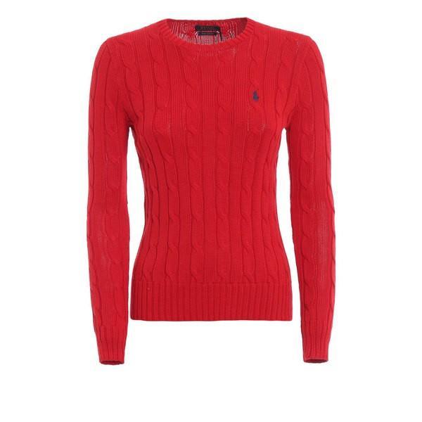ラルフローレン ニット&セーター レディース アウター Polo Ralph Lauren Red Twist Knit Cotton Sweater Red