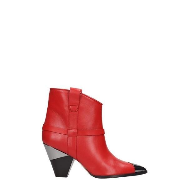 アルキミア ブーツ&レインブーツ レディース シューズ Alchimia Red Leather Ankle Boots red