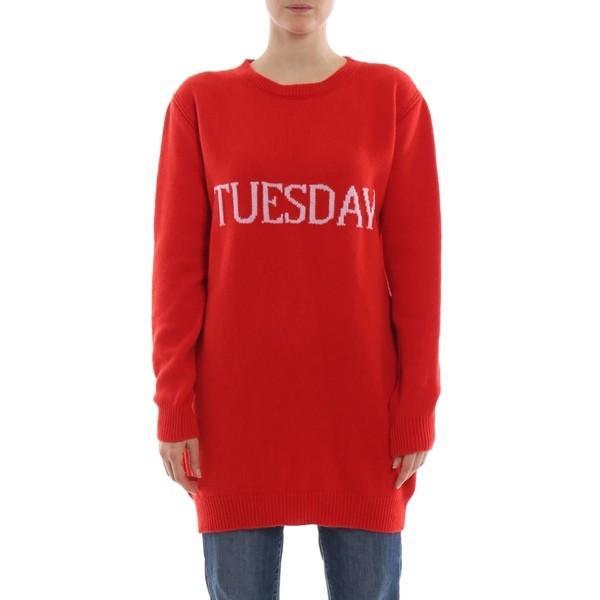 アルベルタ フェレッティ ニット&セーター レディース アウター Alberta Ferretti Tuesday Red Long Crewneck Red