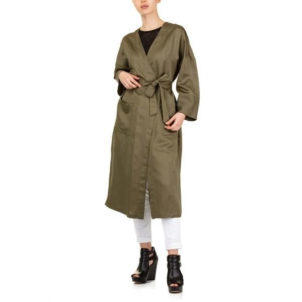 セミクチュール ジャケット・ブルゾン レディース アウター SEMICOUTURE Olive Wrap Coat Green