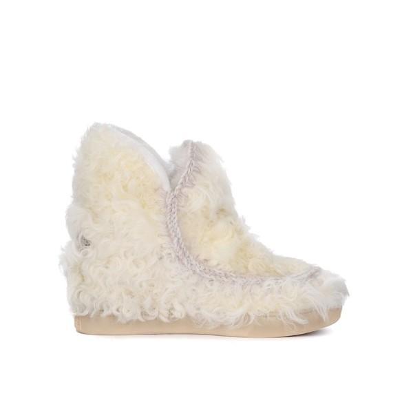 モウ ブーツ&レインブーツ レディース シューズ Mou Inner Wedge Sneaker Vanilla Sheepskin Ankle Boots BIANCO
