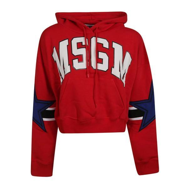 エムエスジイエム パーカー・スウェットシャツ レディース アウター Msgm Star Logo Patch Hoodie Red