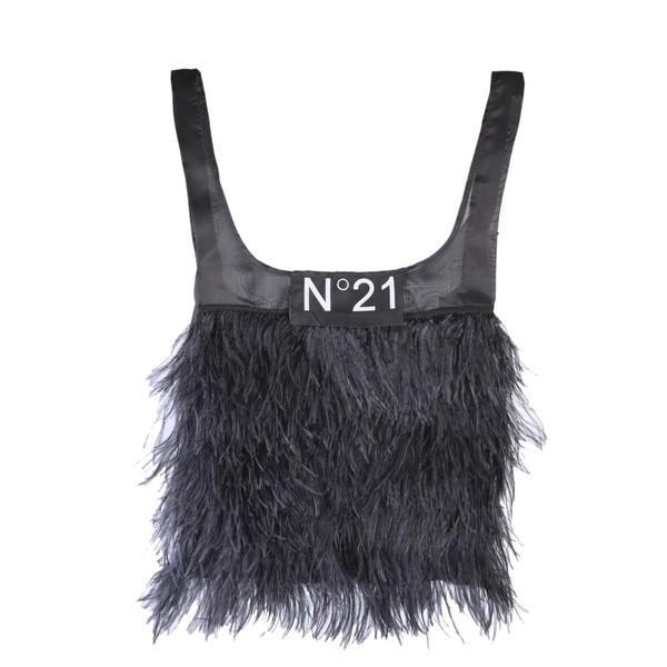 ヌメロ ヴェントゥーノ ショルダーバッグ レディース バッグ N.21 Feather Trim Tote Bag NERO