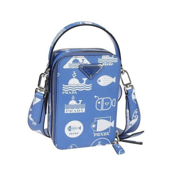 プラダ ショルダーバッグ メンズ バッグ Prada Printed Boxy Shoulder Bag Blue