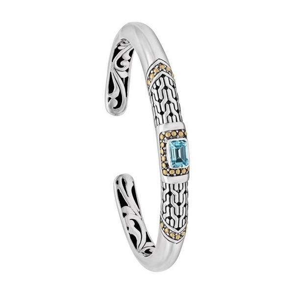 デヴァタ レディース ブレスレット・バングル・アンクレット アクセサリー Sterling Silver & 18K Gold Blue Topaz Cuff Bracelet Silver Gold Blue
