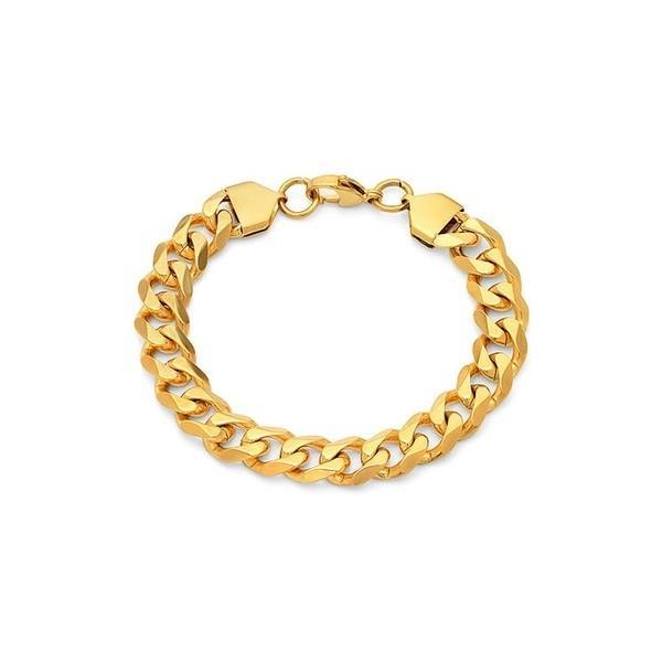 エイチエムワイジュエリー メンズ ブレスレット・バングル・アンクレット アクセサリー 18K Gold Plated Stainless Steel Chain Link Bracelet Metallic