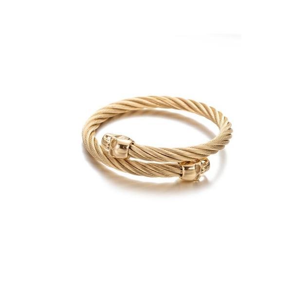 アイキャンデー メンズ ブレスレット・バングル・アンクレット アクセサリー 18K Gold Plated Nick Skull Head Wire Cuff Bracelet Gold