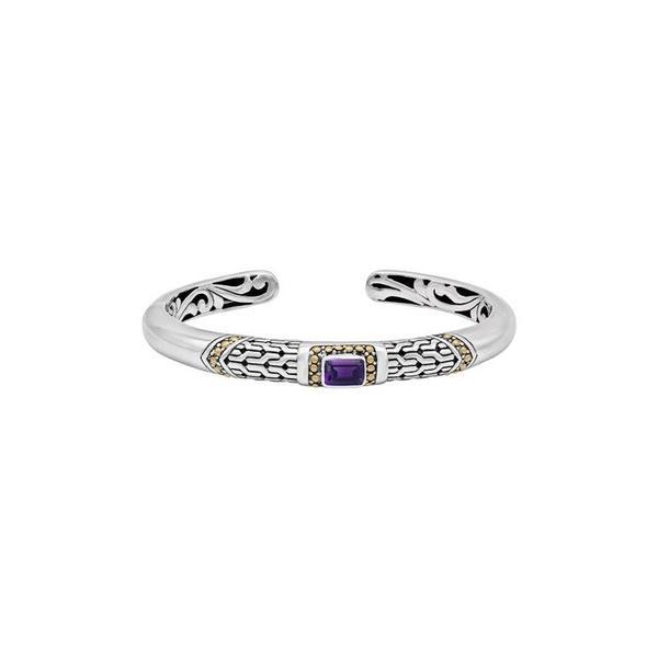 デヴァタ レディース ブレスレット・バングル・アンクレット アクセサリー Sterling Silver & 18K Gold Amethyst Cuff Bracelet Silver Gold Purple