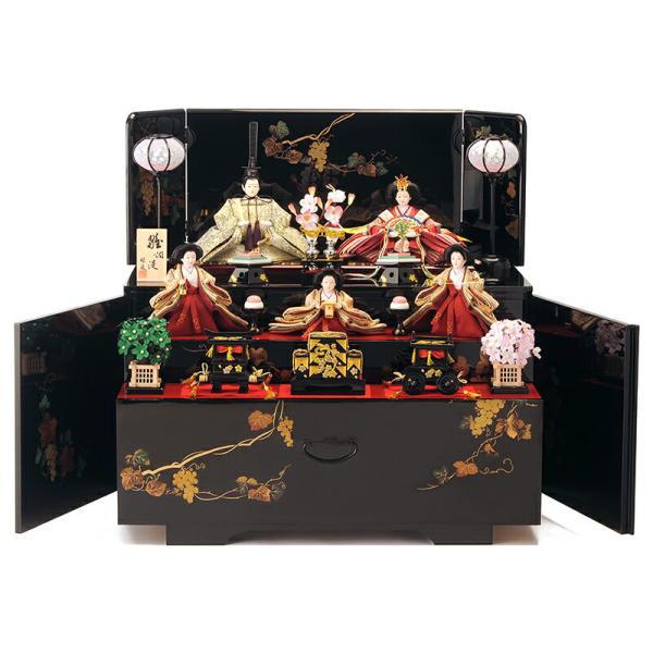 雛人形 雛 コンパクト収納飾り ひな人形 三段飾り 五人飾り 会津塗り 雅泉作 fzcp-45r1374skh asutsuku-ningyoya