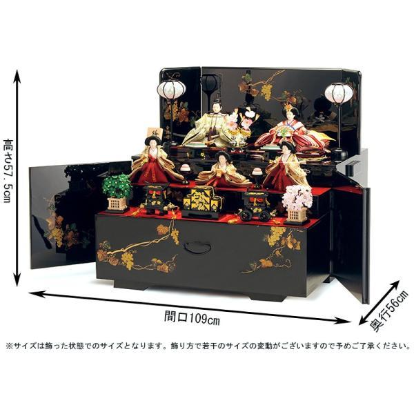 雛人形 雛 コンパクト収納飾り ひな人形 三段飾り 五人飾り 会津塗り 雅泉作 fzcp-45r1374skh asutsuku-ningyoya 02