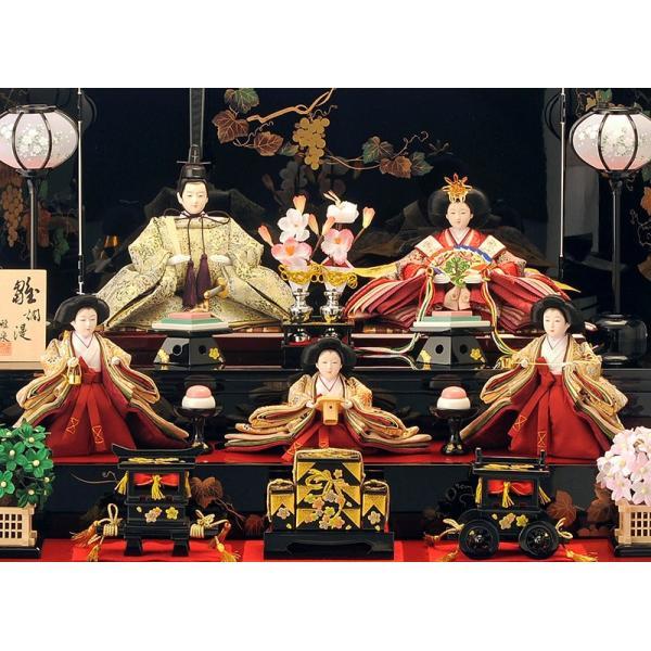 雛人形 雛 コンパクト収納飾り ひな人形 三段飾り 五人飾り 会津塗り 雅泉作 fzcp-45r1374skh asutsuku-ningyoya 04