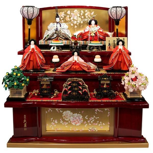 雛人形 久月 ひな人形 雛 三段飾り 五人飾り 瑞光雛 西陣織金襴 九番親王 大三五官女 久月オリジナル頭 h023-k-1070 K-32|asutsuku-ningyoya