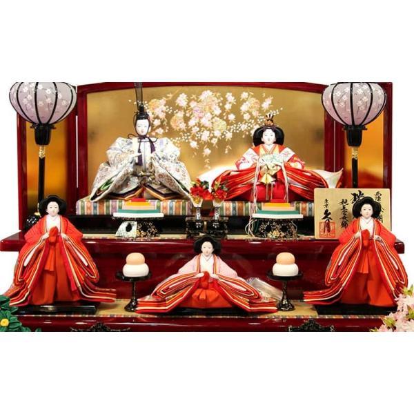 雛人形 久月 ひな人形 雛 三段飾り 五人飾り 瑞光雛 西陣織金襴 九番親王 大三五官女 久月オリジナル頭 h023-k-1070 K-32|asutsuku-ningyoya|03