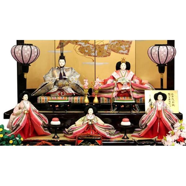 雛人形 久月 ひな人形 雛 三段飾り 五人飾り 春陽雛 西陣織金襴 九番親王 大三五官女 駿河古典蒔絵 h023-k-1080 K-31|asutsuku-ningyoya|03
