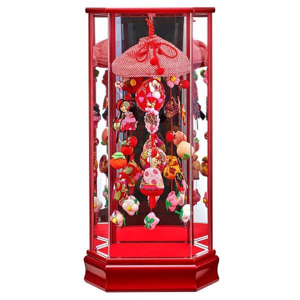 雛人形 コンパクト ひな人形 雛 ケース飾り つるし飾り つるし雛 藤翁作 大 赤A 縮緬細工 六角アクリルケース h033-fn-213-603