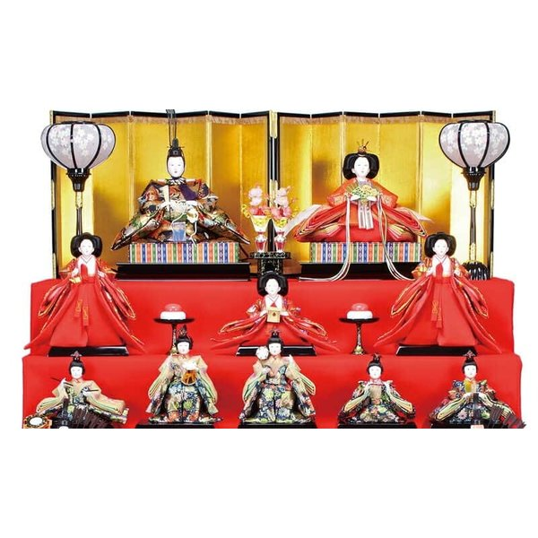 雛人形 ひな人形 雛 七段飾り 十五人飾り 雅泉作 雛つづり 十番親王 三五官女 h023-fz-4e18-aa-801|asutsuku-ningyoya|04