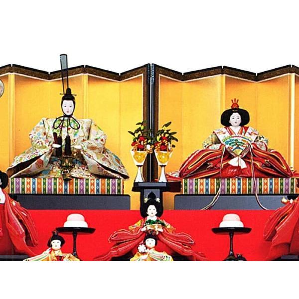 雛人形 久月 ひな人形 雛 七段飾り 十五人飾り 清水朱月作 七番親王 七寸揃 本金道具 久月オリジナル頭 h023-k-7080 K-25|asutsuku-ningyoya|03