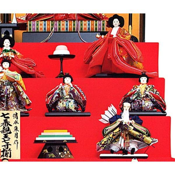 雛人形 久月 ひな人形 雛 七段飾り 十五人飾り 清水朱月作 七番親王 七寸揃 本金道具 久月オリジナル頭 h023-k-7080 K-25|asutsuku-ningyoya|05