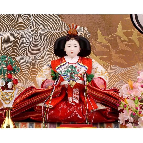 雛人形 ひな人形 雛 久月 平飾り 親王飾り 清水文平作 正絹帯地 東京久月監製 h243-kcp-s24556c asutsuku-ningyoya 05