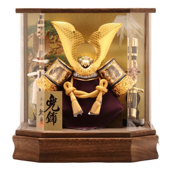 五月人形 久月 兜ケース飾り 六角  オルゴール付 h265-k-k112-2|asutsuku-ningyoya