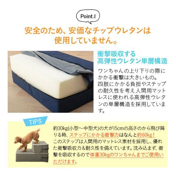 ドッグステップ ステップ スロープ 犬 ペット用 階段 ペットステップ 送料無料 洗濯可 ウレタン 綿100% 踏み台 犬用品 ケガ防止 ペット用品 エムール|at-emoor|05